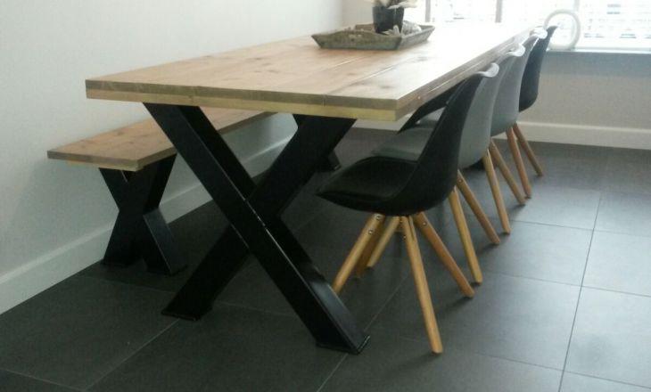 Tafel X Poot : Eettafel en bankje poot staal dalem dercorate with passion